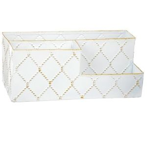 """Concepts in Time 13"""" White Metal Slot Organizer"""